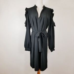 Ann Taylor L Tunic Dress Black VNeck Open Shoulder